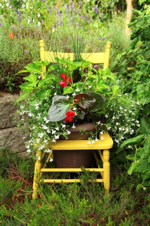 sedia che diventa fioriera