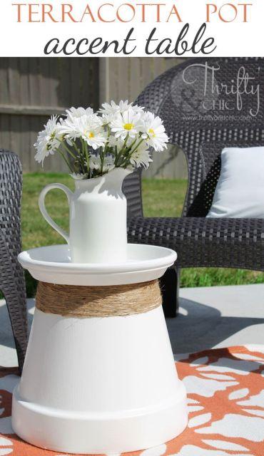 Terra Cotta pot accent table-favorite Pinterest pins