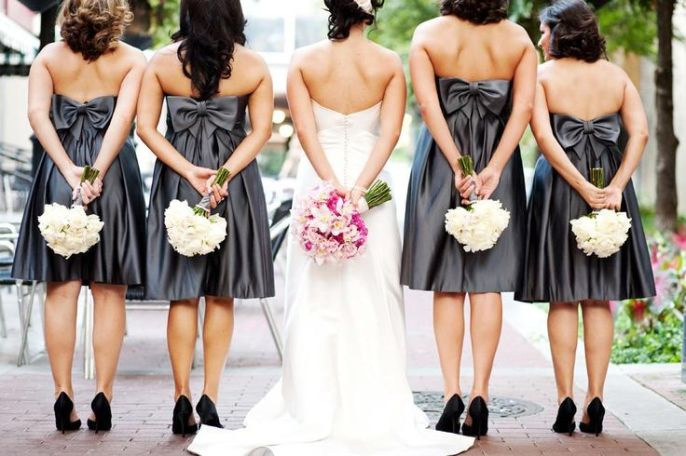 bridesmaids | Charcoal | bow short Empire white bouquet | Wed Society