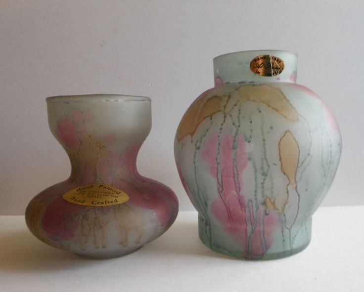PAIR Of Al Rama GLASS VASES HAND PAINTED MADE IN ISRAEL