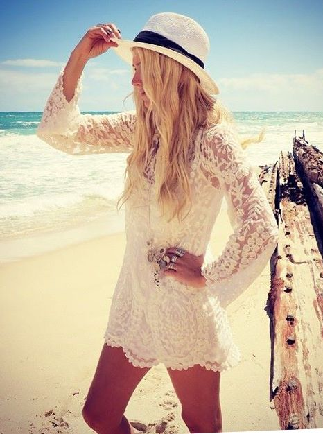 Cute idea for a vacation by the beach! A lightweight, white, crochet dress/tunic is a perfect bikini coverup. Add a fedora and cute sunglasses, and you get great sun protection!