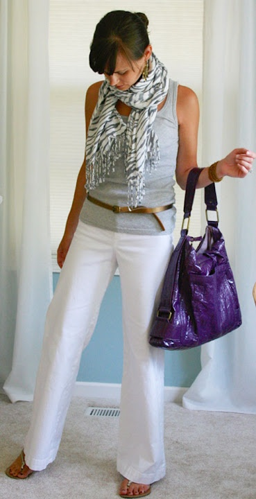 Gray tank and scarf with white pants or jeans