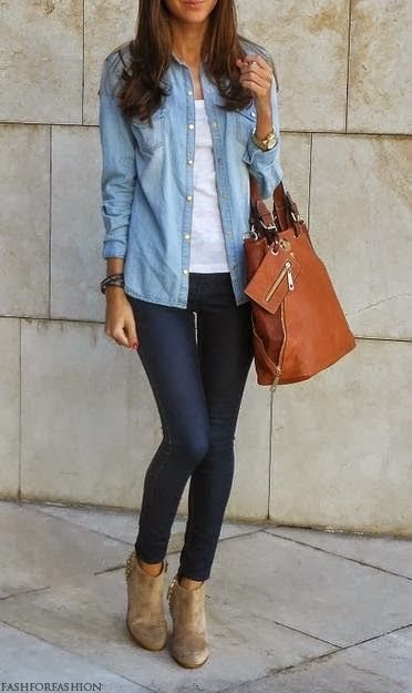 Casual Outfit With Skinny Jeans and Brown Handbag find more women fashion on misspool.com