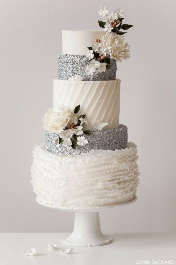 All the different textures on this white & silver wedding cake are divine! // Cake by Jenna Rae Cakes #weddingcake