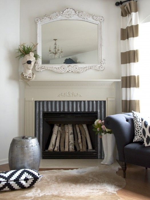 renter's fireplace makeover