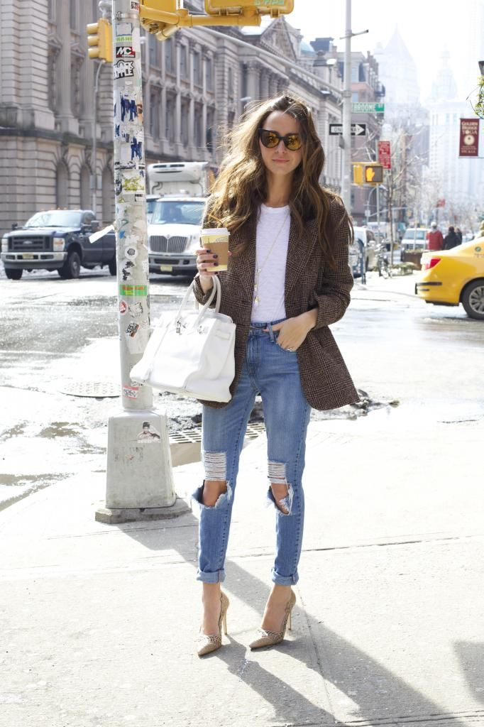 boyfriend jeans + white tee + tweed jacket