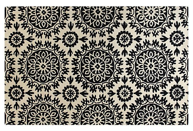 Star Burst Rug, Ivory/Black on OneKingsLane.com