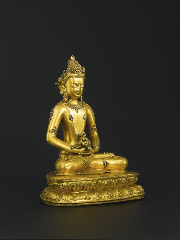 A GILT-BRONZE AND HARDSTONE INLAID FIGURE OF AMITAYUS<br>TIBET, 14TH CENTURY | Lot | Sotheby's