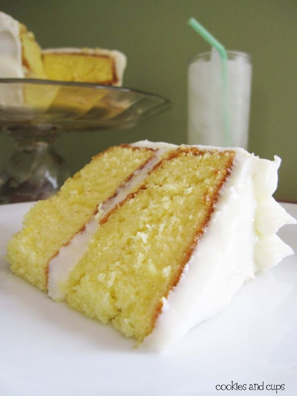 lemonade cake with lemon cream cheese frosting-and it uses a cake mix! score!    Ingredients    1 Lemon boxed cake mix (I used Duncan Hines)  4 eggs  1 1/4 cup milk  1/3 cup vegetable oil  2 Tbsp Lemonade from concentrate  Glaze:  2 Tbsp Lemonade from concentrate  1 cup powdered sugar  1 Tbsp water  Frosting:  8 oz block 1/3 less fat cream cheese