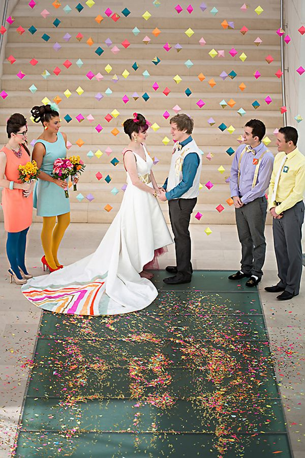 Super bright and funky wedding colors and dress. #bright #wedding #neon