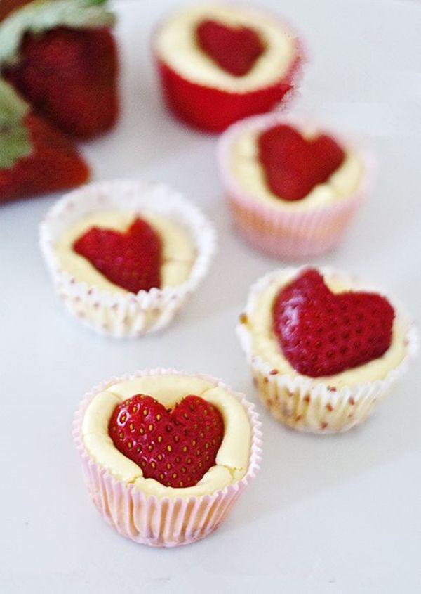 5 Valentines Day Sweet Treat Recipes...strawberry heart mini cheesecake bites...