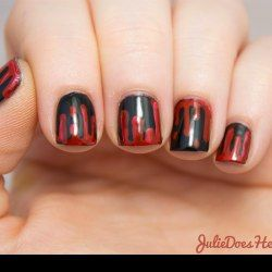 JulieDoesHerNails: Dripping Blood Nail Art