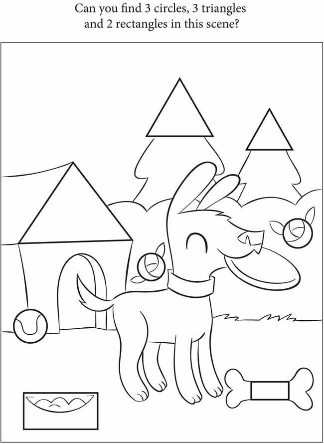 trace shapes colouring pages