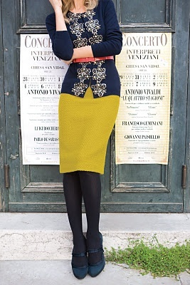 Get a similar look with CAbi's fall '14 Applique' Cardigan, paired back to the Curry Skirt from fall 12.