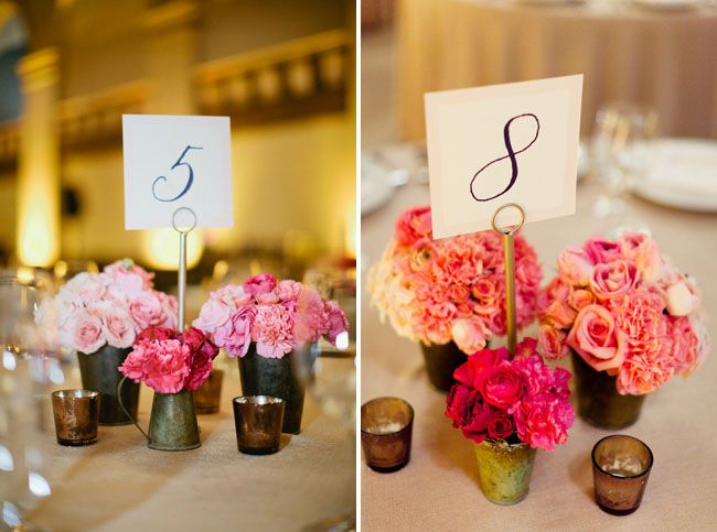 Sweet ombre centerpieces #ombrewedding #weddingdecor