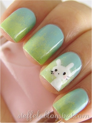 Ombre with a bunny...I like the green to blue ombre, maybe more without the bunny.  :)