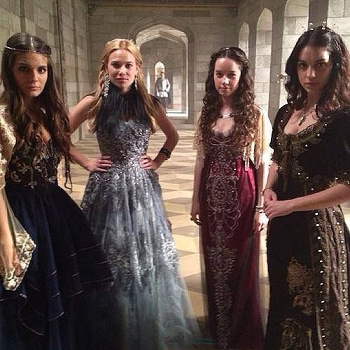Caitlin Stasey, Celina Sinden, Anna Popplewell and Adelaide Kane on the set of Reign!