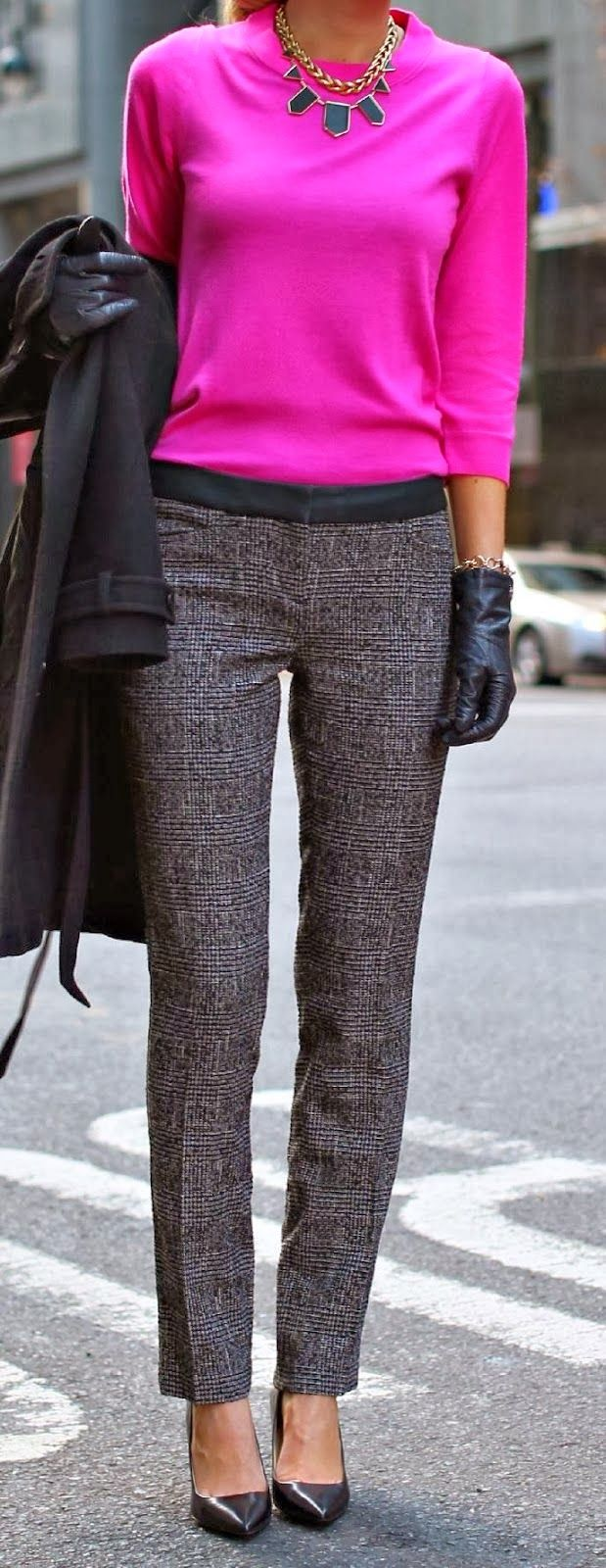 Bright top, textured slacks, heels, chunky jewelry in a contrasting color