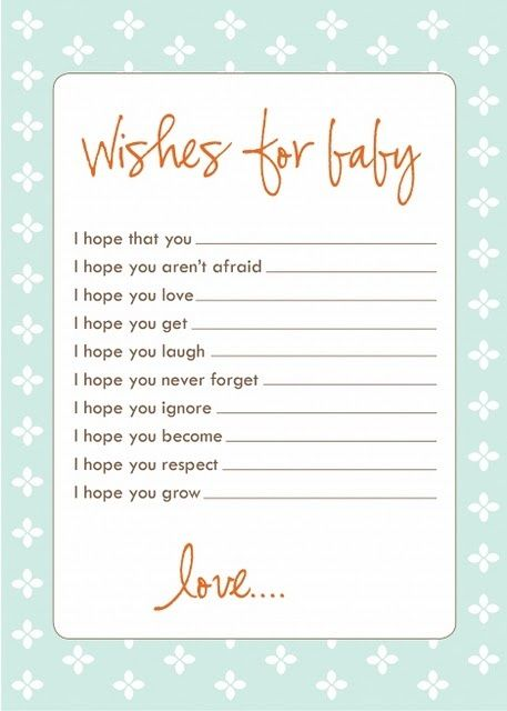 Wishes for baby - This would be perfect for a baby shower scrapbook.