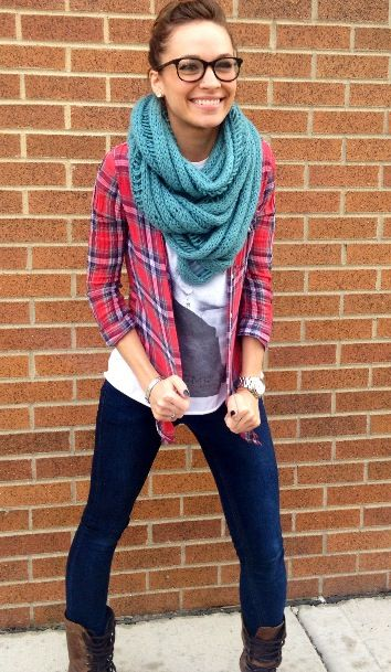 Plaid Shirt Over Graphic Tee With Chunky Infiniti Scarf - Fall Outfits