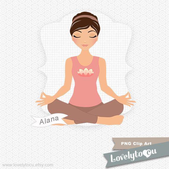 Yoga girl in meditation pose, digital PNG clip art (Alana 487)