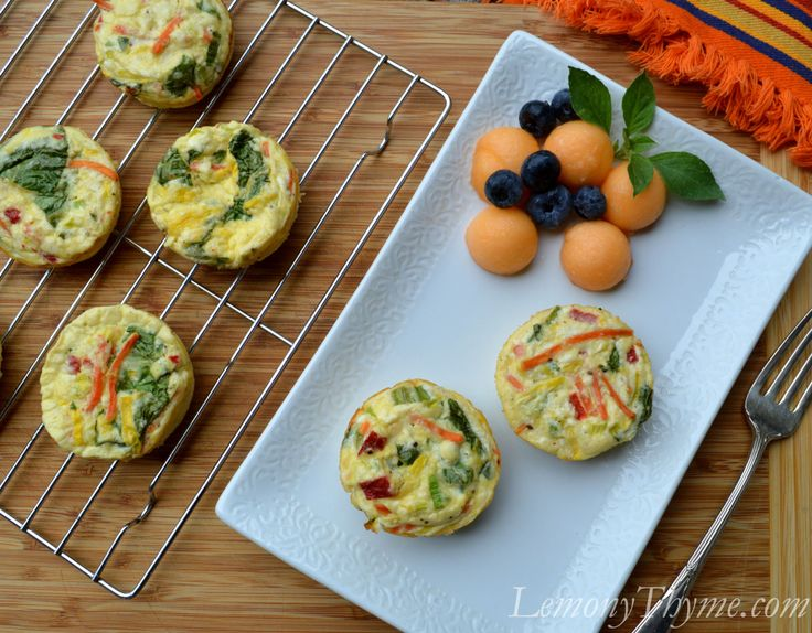 Feta & Vegetable Mini Frittatas.  Only 2 WW Pts+ per frittata.  A great Healthy Choice for breakfast on the go.
