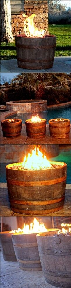 Whiskey Barrel Fire Pit.