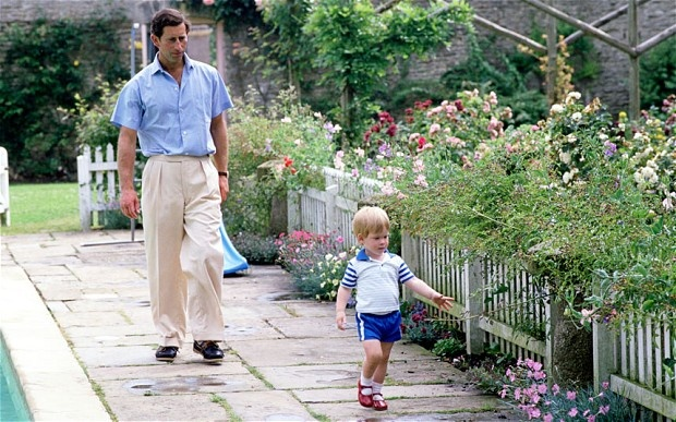 The seeds of an interest in gardening were planted in Prince Harry when he was a toddler, seen here with his father The Prince of Wales at Highgrove.