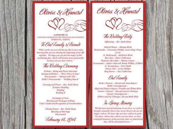 Double Heart Wedding Program Microsoft Word Template Red Flourish Ceremony Program Heart