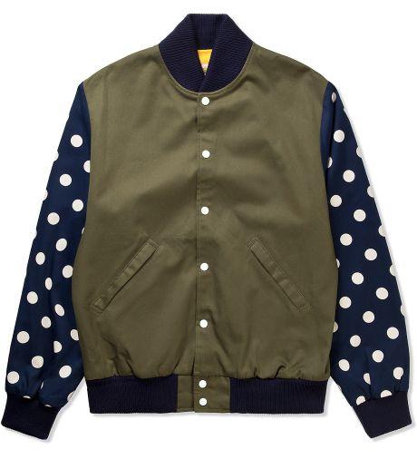 BEE LINE  Olive/Navy Dot Varsity Jacket