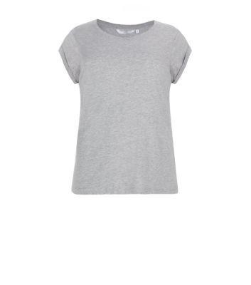 Grey Roll Sleeve T-Shirt