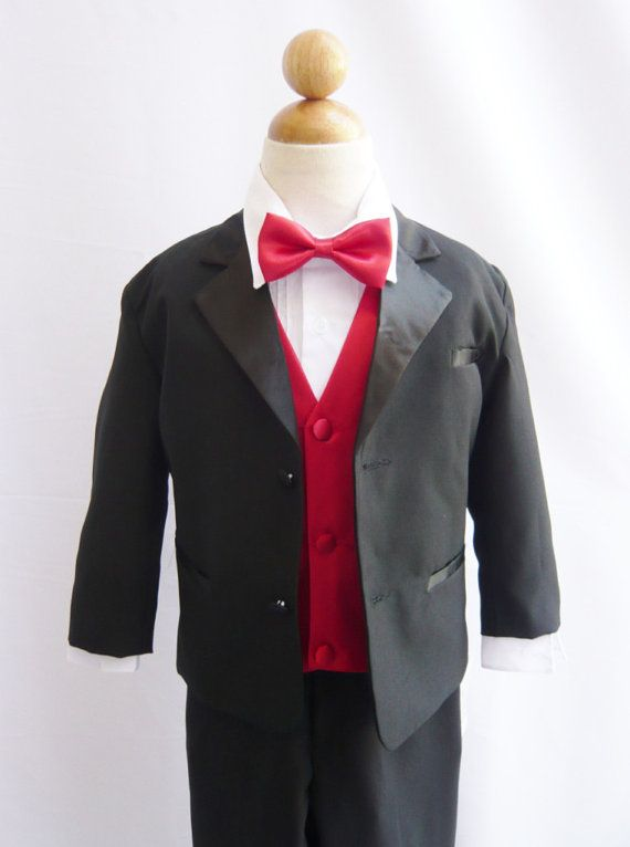Formal Boy Tuxedo Black with Red Cherry Vest for by carmiashop, $33.99