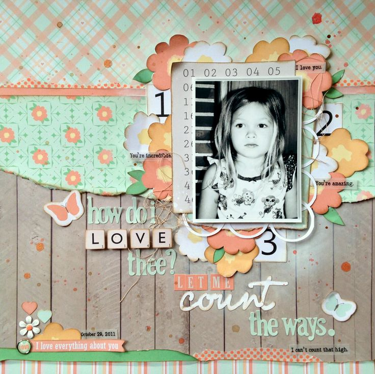 How Do I Love Thee by Missy Whidden - Scrapbook.com- Pretty layered florals with bright patterns make the perfect little girl layout. Made using the Date Night collection by Chickaniddy