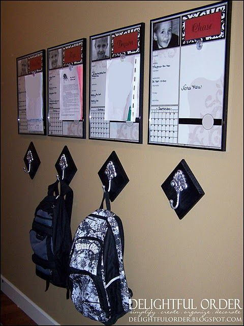 Backpack hooks and organization