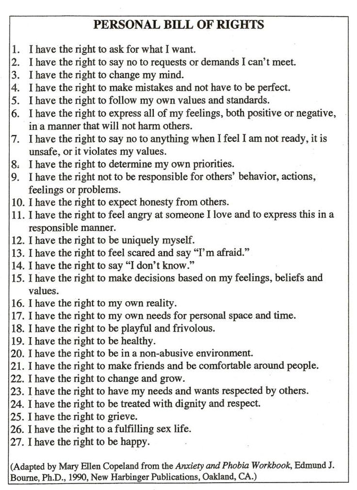 Personal Bill of Rights for Adults.