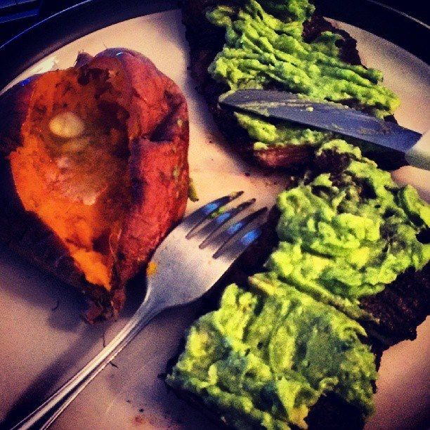 #paleo #dinner skirt steak with guacamole and a baked sweet potato with grass fed butter