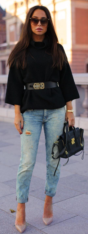 Zara Black Belted Oversize Sweater| mitzitup.com