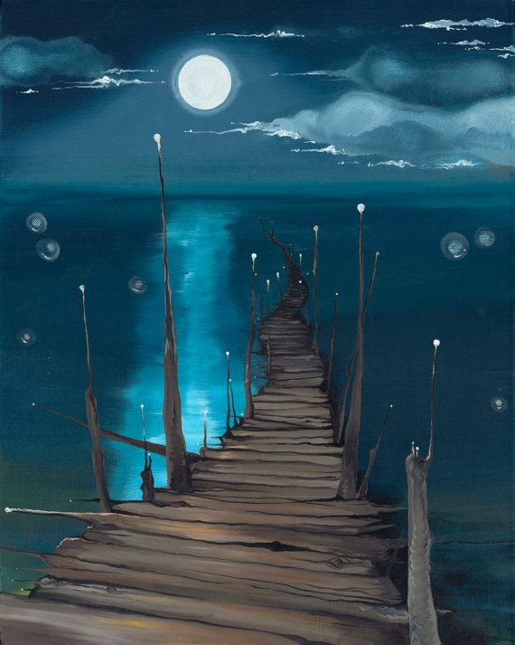 Dock to the Moon  giclée print on canvas by elementerra