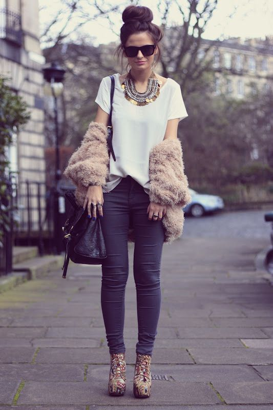 jeans + tee + chunky shoe + big accessories. simple ... | elfsacks