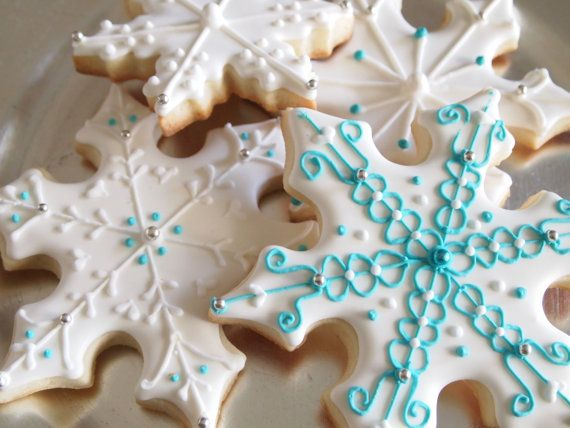 Snowflake/ Frozen Cookies by AuntieBeasBakery on Etsy, $36.00