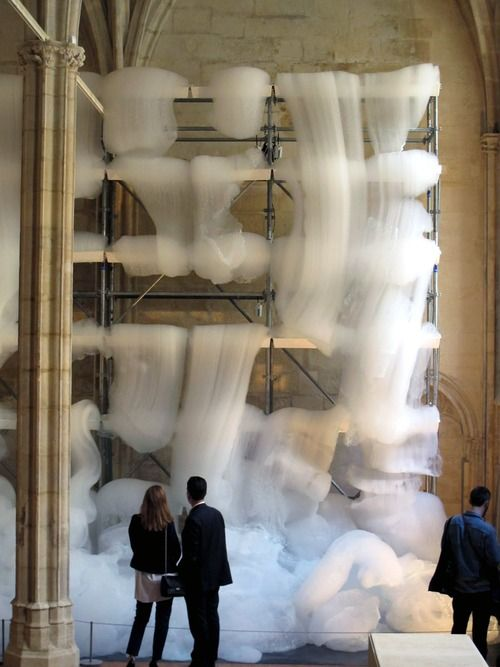 Michel Blazy - Final Bouquet (2012) - a kinetic installation that oozes sheets of foam into a monastery in Paris