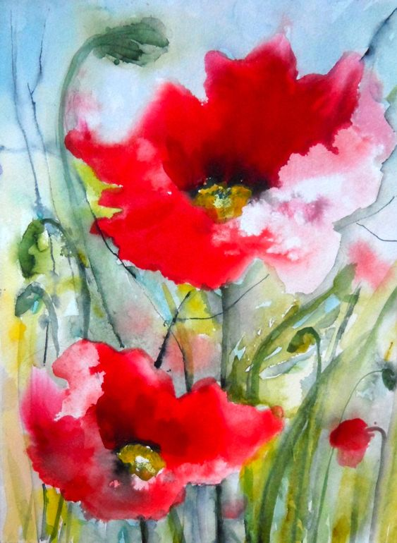 """Poppies ll"" - by  Karin Johannesson  ~Watercolor"