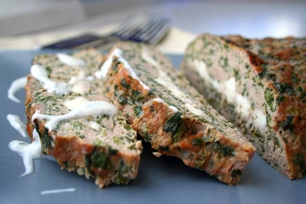 Feta Stuffed Turkey Meatloaf with Tzatziki Sauce Recipe | 23 Super Satisfying Low-Carb Dinners Yum! Mediterranean Meatloaf Recipes