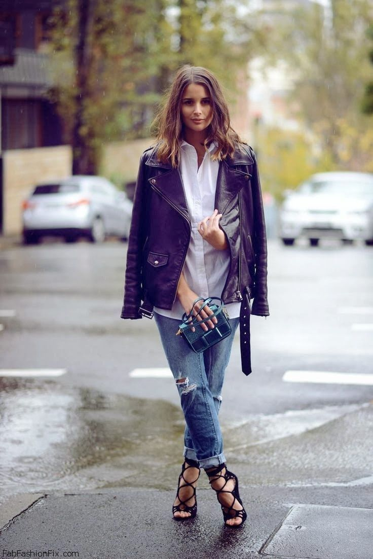 Leather jacket and boyfriend jeans love