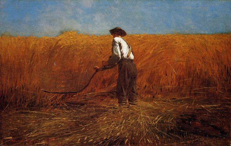 Winslow Homer (American, Realism, 1836-1910): The Veteran in a New Field, 1865. Oil on canvas, 24-1/8 x 38-1/8 inches (61.3 x 96.8 cm). Metropolitan Museum of Art, New York, NY, USA.