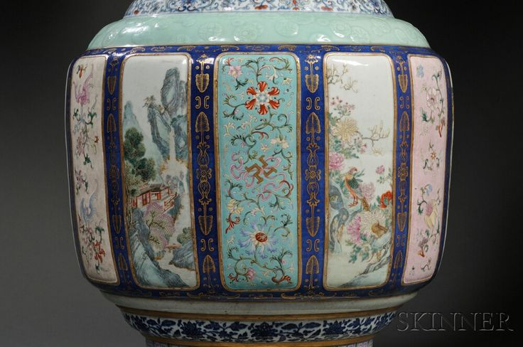 Monumental Fencai Flower and Landscape Vase | Sale Number 2751B, Lot Number 96 | Skinner Auctioneers