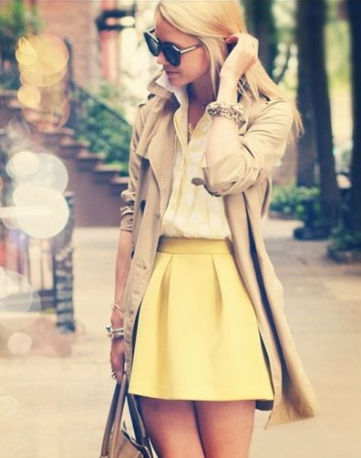 yellow skirt and trench coat