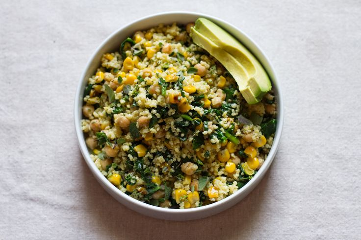 Lemony Millet Salad with Chickpeas, Corn &Spinach // edible perspective