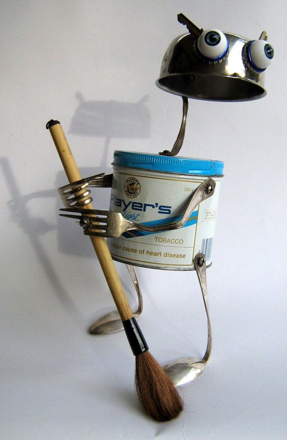 Upcycled ROBOT  Sculpture   Broom Mama      green by BranMixArt, $80.00