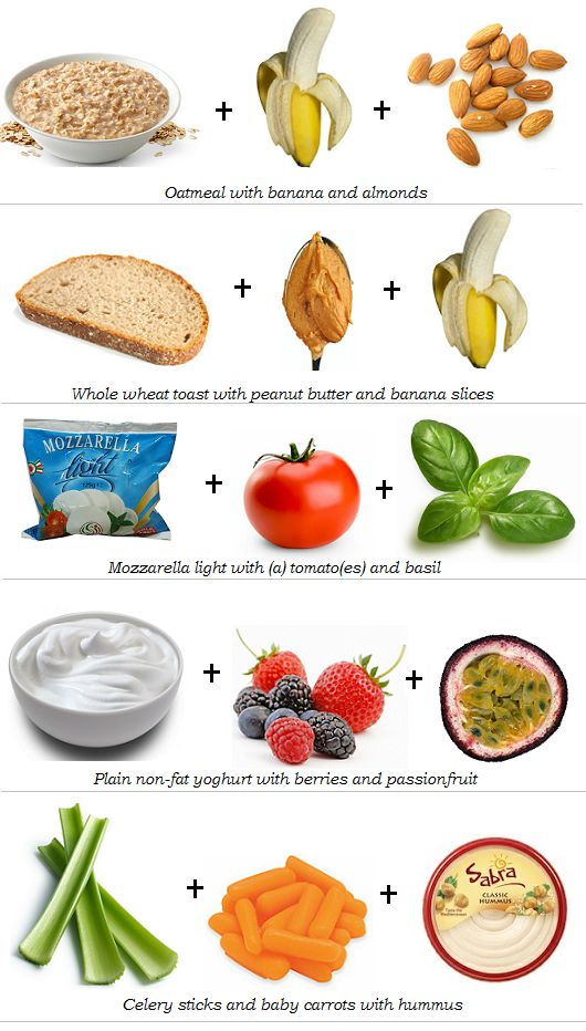How to build a healthy snack: carbs (whole grains, fruits/veggies) + protein (dairy, nuts, lean meat, beans) = staying power!